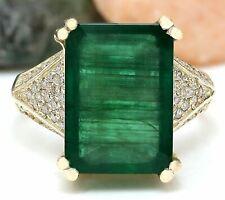 8.73 Carat Natural Emerald 14K Solid Yellow Gold Diamond Ring
