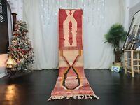 "Handmade Moroccan Boujad Runner Rug 2'5""x11'1"" Berber Geometric Red Wool Carpet"