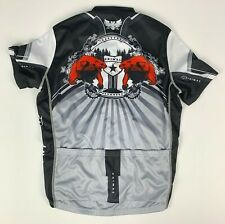 Primal Full Zip Cycling Jersey sz M Black Gray Red
