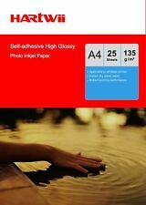 Hartwi 25 Sheet A4 135Gsm Self-adhesive Sticky high Glossy Photo Paper Inkjet UK