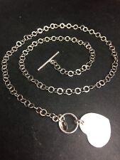 NUEVO,de plata ley sólida Redondo Cable Charm Corazón Toggle Chain Collar -