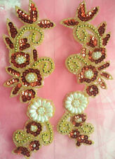 """XR264 Appliques Mirror Pair Red Sequin Gold Beaded W/Pearls 9"""""""