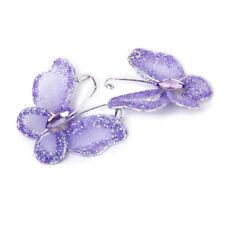 50 Wire Stocking Butterfly Purple Glitter Party Wedding Craft Decor Purple