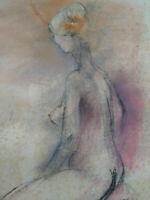 Curiosa beau tableau femme modèle nu fusain et pastel grand format années 1950
