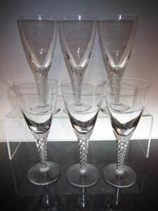 """Six (6) STUART Crystal """"Ariel"""" """"Iona"""" Air Twist Stem Claret Wine Glasses, 7 1/8"""""""