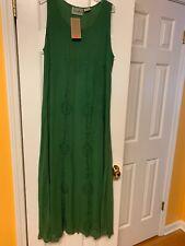 Vtg NWT Raaga 100% Rayon Dress Green Embroidery Free Size Long Sleeveless Rare