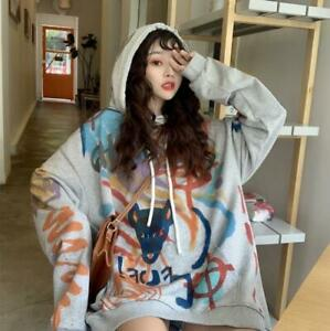 Womens Fashion Graffiti Print Hooded Pullover Loose Hoodies Sweats Outwear SKGB