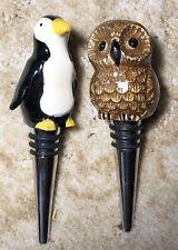 NEW Pottery Barn Wine Bottle Stopper Cork Owl Penguin Decorative Topper Steel