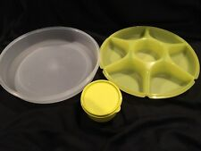 Tupperware Serving Center Set - lime GREEN with SHEER ICE Domed Cover - NIP