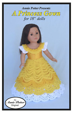 Crochet A Princess Gown 18 inch doll dress pattern by Annie Potter