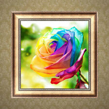 DIY 5D Diamond Rainbow Rose Painting Embroidery Cross Stitch Crafts Home Decor