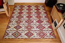 Tribal Persian Nomadic Red Beige Flat Weave Non Slip Rug Runner S- Large 20 off M - 120x180cm (4'x6')