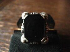 Classique ART DECO Bague Chevalière Ring 835er Argent Onyx 18 mm RG 57