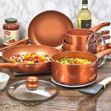 Ceramic Copper Steel Induction Cooking Pots Saucepans Kitchen Cookware Lidded