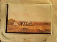 Aquarelle orientaliste Paysage,calèche,chevaux et personnages non signée