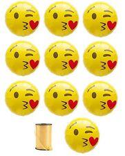 "NEW 11-pcs Blow Kisses EMOJI w/ Curling Ribbon EMOJI Mylar Balloons 18"" Decor"