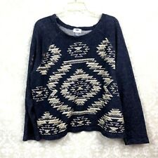 Old Navy XL Womens Blue Ivory Aztec Scoop-Neck Knit Sweater