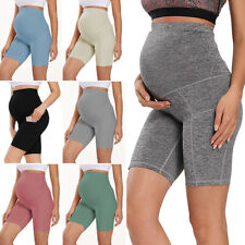 Women Pregnant Yoga Shorts Maternity High Waist Side Pocket Short Pants Leggings
