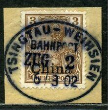 Kiautschou China Mi 15 a Briefstück Bahnpost Ts.-Weihsien Zug 2