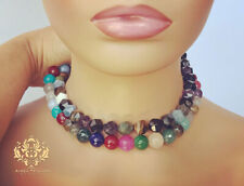 Fun Faceted Gemstone Statement Necklace Multi Color Jade Amethyst Tigers Eye