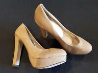 Chix size 6 (39) light brown faux patent leather platform court shoes heels