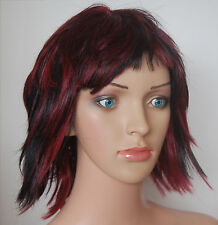 Women's Fancy Dress Wig, Black & Red, Rock Chick, Punk, Vampire, Gothic. UK