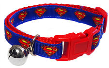 Spoilt Rotten Pets Quality Superman Cat Collar. Safety Buckle and Bell