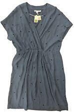 NWT Boden Womens Blouson Faux Wrap Dress Flowy Blue Dress - Size 16L USA
