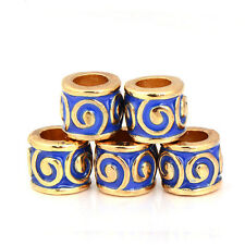 5pcs Yellow Gold Filled Blue Retro Charm Bead fit European Bracelet/Necklace