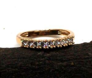 "14K Gold White Topaz Gemstone Handmade Jewelry Heart Ring (US) Size-7"""