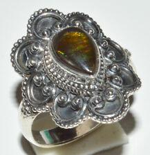 Genuine Canadian Ammolite 925 Sterling Silver Rings Jewelry s.5.5 JB13030