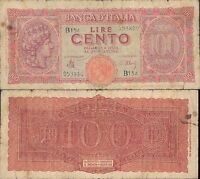 100 LIRE ITALIA TURRITA DEC.10/12/1944 @ MB, BB
