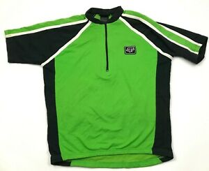 VINTAGE Fox Cycling Jersey Size Large L Shirt Green Black 1/4 Zip Short Sleeve