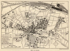 Map of Rugby town centre, antique print, 1880s ready mounted SUPERB