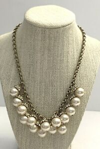 J CREW Faux Pearl And Rhinestone Necklace Ivory And Gold Tone Chunky Formal FLAW