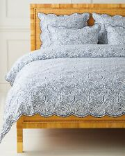 Serena & Lily Priano Scalloped Duvet King / Cal King Navy Blue NEW