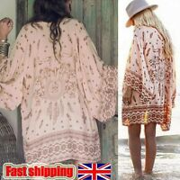 Womens Retro Boho Floral Lace Cardigan Hippie Kimono Coat Blouse Cape Jacket Top