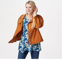 LOGO by Lori Goldstein Nylon Zip-Front Jacket Allspice, Large A347718