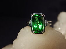 4.93 Ct. Cushion Faceted Moldavite Ring Classic Solitaire Style Sterling Silver