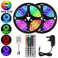 16.4 Feet RGB Waterproof LED Strip Light SMD 44 Key Remote 12V DC Power Kit 3528