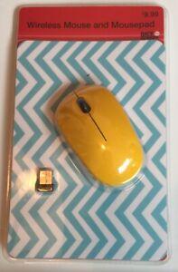 Yellow Wireless Mouse and Chevron Mousepad 2.4 GHZ USB 2.0 26 Ft. Range Win-Mac