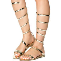 Womens Open Toe Strappy Gladiator Coil Spiral Ankle Leg Wrap Flat Sandals Cure15