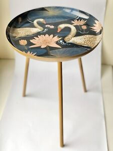 Tripod Metal Side Table Beautiful Swan Design Occasional Gold Colour New