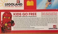 LEGOLAND FLORIDA CALIFORNIA KIDS FREE W/ ADULT PAID ADMISSION WALK UP EXP. 12/31