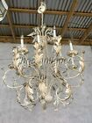 STUNNIONG EXTRA LARGE 12 LIGHT CAHNDELIER LEAF DESIGN , GREAT PATINA! 6FT TALL!