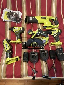 RYOBI 18-Volt ONE+ Lithium-Ion Cordless 5-Tool Combo Kit/2 Batteries & Chargers