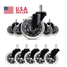 """5Pcs Heavy Duty 3"""" Office Chair Caster Rubber Swivel Caster Wheels Replacement"""