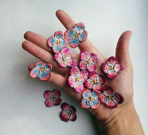 Pink Flowers Set Handmade Sew-On Embroidered Patch