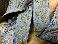 "Vintage RARE 1900's ATQ Cotton Silk 1"" French Blue Gold Threads 1yd France"