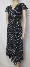 Laura Ashley Sommerkleid 38 40 dunkelblau Punkte polka dots Wickeloptik